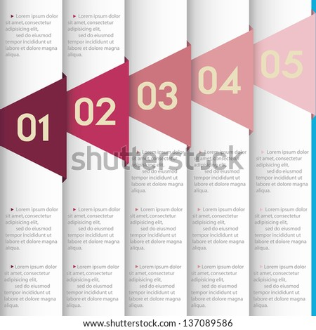 White paper numbered banners. Vector design template