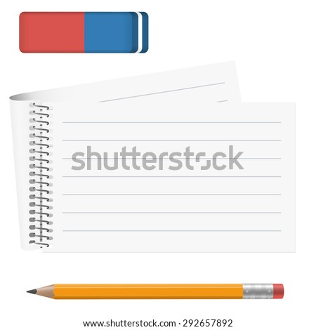 white paper pad with pencil and eraser - stock vector
