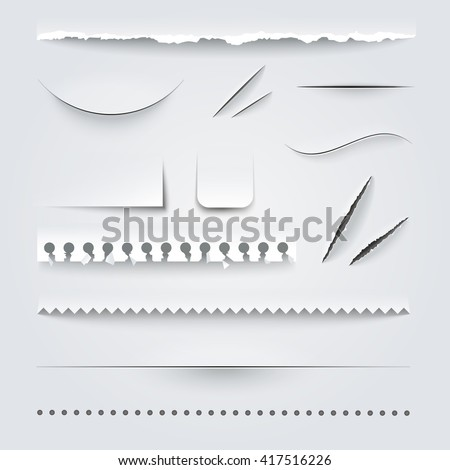 White paper perforated ripped torn jagged cut edges texture samples set realistic shadows vector illustration  - stock vector