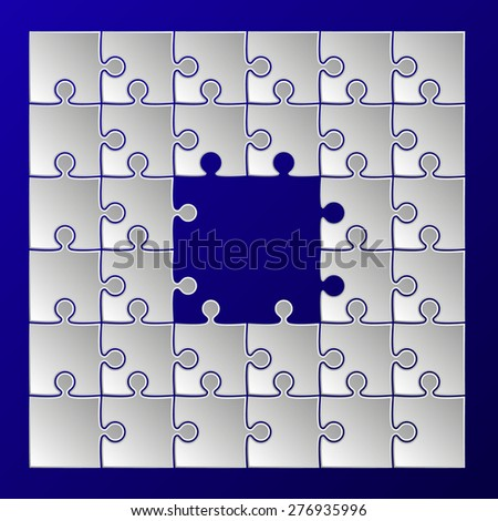white paper puzzle pieces frame border on blue background - shape square - stock vector