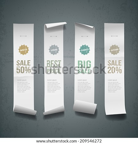 White paper roll long size vertical for sale design background, vector illustration - stock vector
