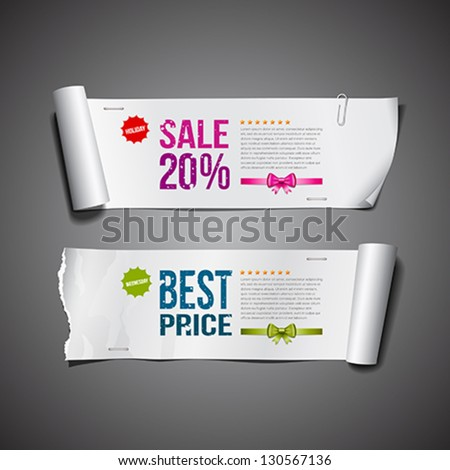 White paper roll ripped long collections design for business, vector illustration - stock vector