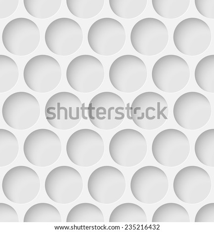 White paper seamless circle background with shadow. Vector illustration - stock vector
