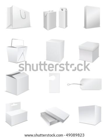 white paper set - stock vector