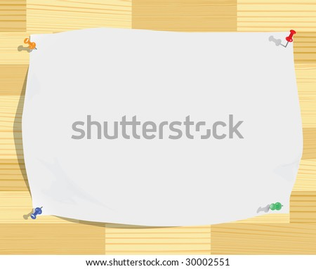 White paper sheet and motley pins on wood texture (vector, CMYK) - stock vector