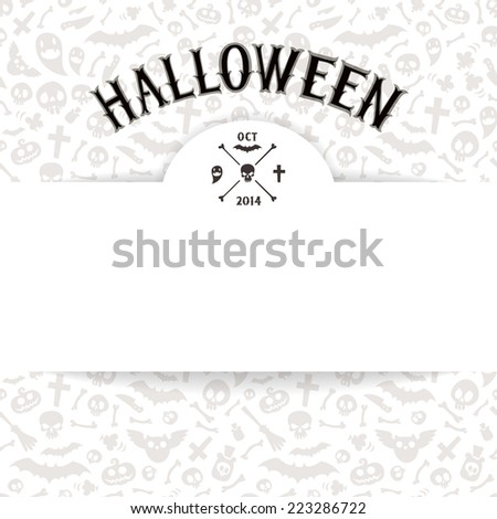 White Paper Sheet on Light Halloween Background. Editable pattern in swatches. - stock vector