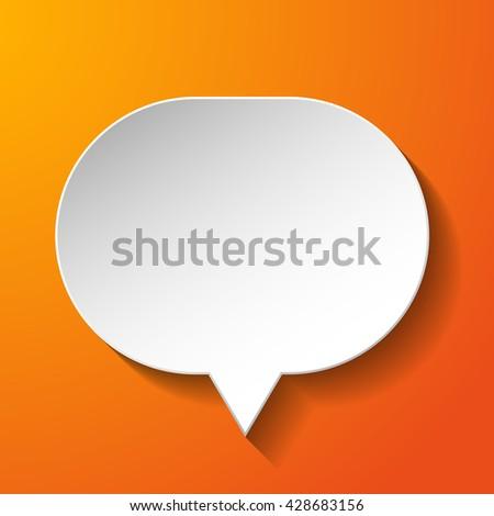 White paper speech bubble on orange background. Vector eps10 illustration - stock vector
