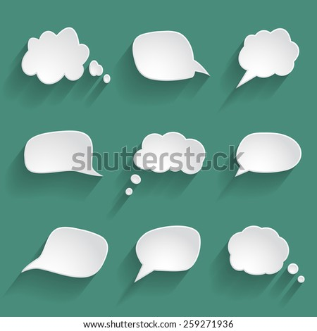white paper speech bubbles - stock vector