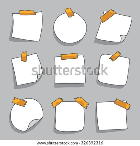 White paper stickers with yellow tape on a gray background. Vector.