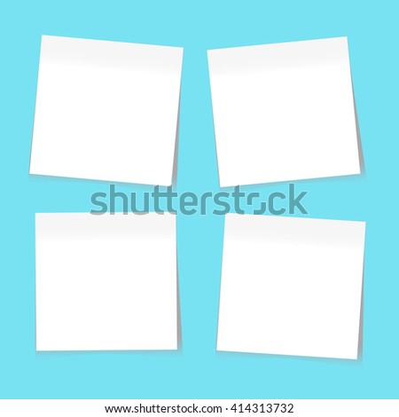 White Paper Sticky Notes. Vector EPS10 - stock vector