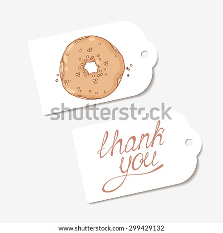 White paper tags. THANK YOU hand drawn lettering sign and sketched chocolate donut. Design for cafe, coffee and pastry shop, bakery. Vector illustration - stock vector