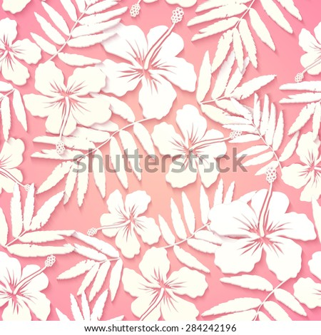 White paper tropical flowers on pink background, vector seamless pattern - stock vector