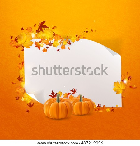 White paper with autumn leaves and pumpkin. Vector autumn design. Fall theme.