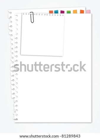 White paper with bookmark - stock vector