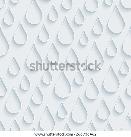 White paper with outline extrude effect. Raindrops 3d seamless background. Halftone vector EPS10. - stock vector