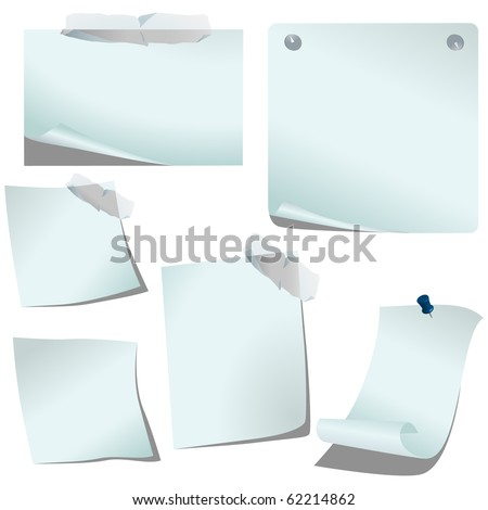 White pealing papers isolated on white vector - stock vector
