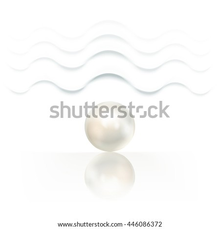 White pearl, isolated on a white background with waves. Vector illustration - stock vector