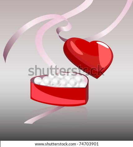 white pearls in the red box - stock vector