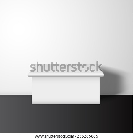 White pedestal vector background. Vector eps10. Can be used for product presentation.