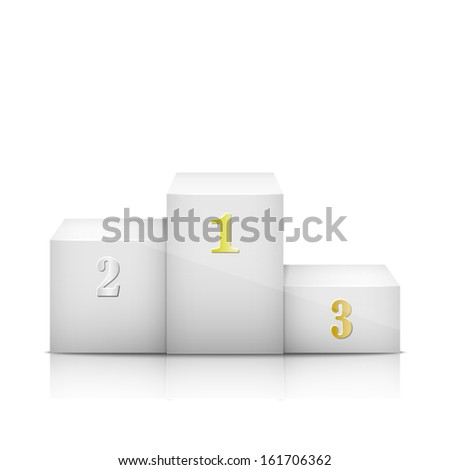 White Pedestal With Numbers. Vector Illustration. - stock vector