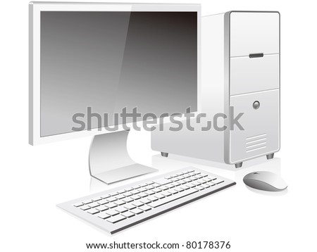 White personal computer and monitor vector - stock vector