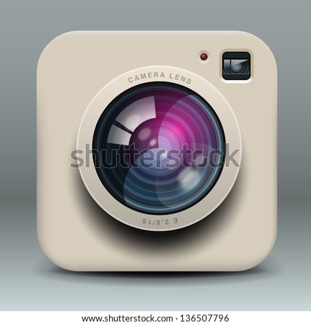 White photo camera icon, vector illustration. - stock vector