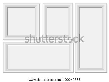White photo frames - stock vector