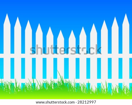 White picket fence and blue sky - stock vector