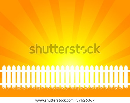 White picket fence and orange sky - stock vector