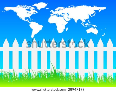 White picket fence and world map - stock vector