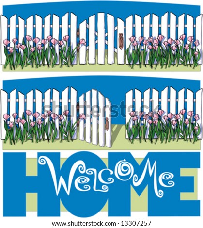 White Picket Fence, Welcome home - stock vector