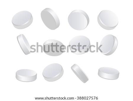 White pills - stock vector