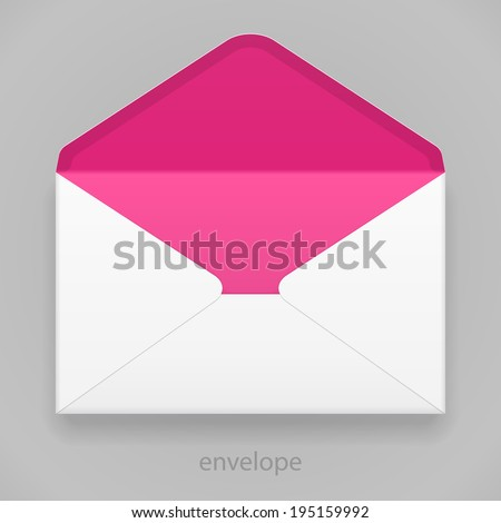 White Pink Violet Magenta Blank Envelope Isolated On Gray Background. Ready For Your Design. Product Packing Vector EPS10 - stock vector