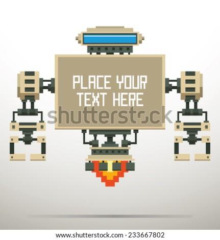White Pixel Robot Banner, vector - stock vector