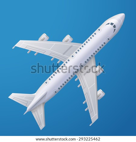 White plane against blue background. Passenger airliner, top view. Qualitative vector illustration about flights, plane, travel, aviation, piloting, air transport, etc - stock vector