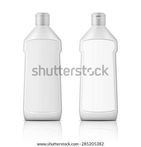 White plastic bottle with label for bleach, cleaning agent or washing cleaner. Packaging collection. Vector illustration. - stock vector