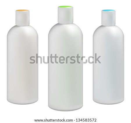 White plastic bottles for cosmetic creams, lotions, shampoo and gels with colored caps - stock vector