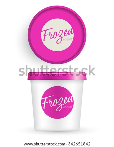 White Plastic Bucket With Pink Lid : Ice cream or Yogurt Container : Vector Illustration - stock vector