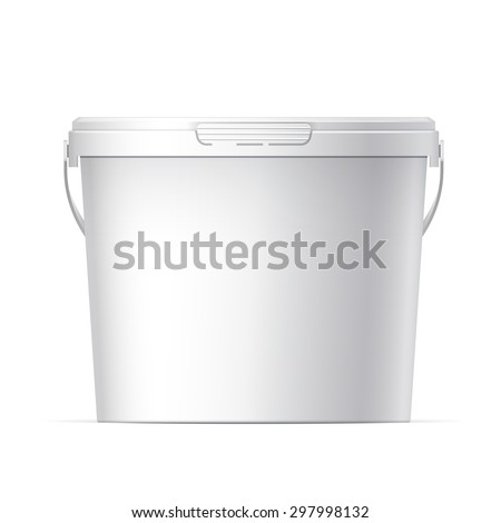 White plastic bucket with White lid. Product Packaging For food, foodstuff or paints, adhesives, sealants, primers, putty. Vector - stock vector
