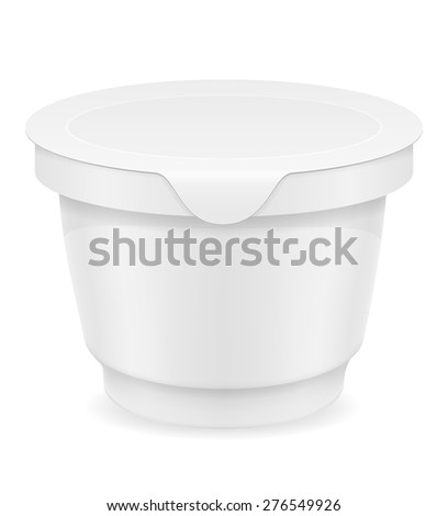 white plastic container of yogurt or ice cream vector illustration isolated on background - stock vector