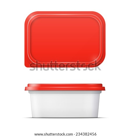 White plastic container with red lid for margarine spread, butter or melted cheese,  front and upper view on white background. Packaging collection. - stock vector
