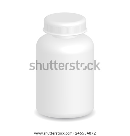 White plastic medical container bottle on white background.