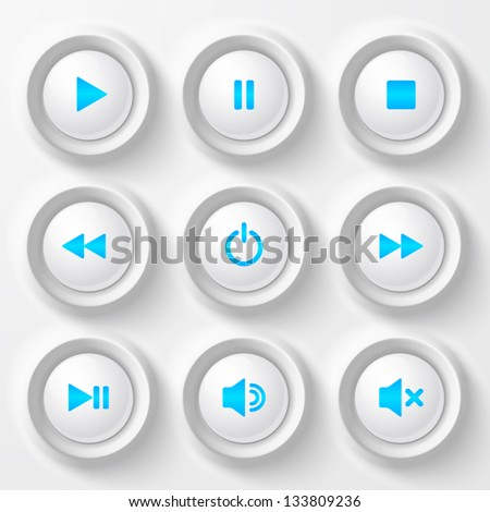 White plastic navigation buttons player set with blue symbols - stock vector