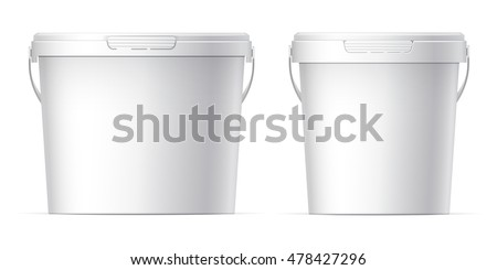 White plastic set bucket with White lid. Product Packaging For food, foodstuff or paints, adhesives, sealants, primers, putty. MockUp Template For Your Design. Vector illustration.