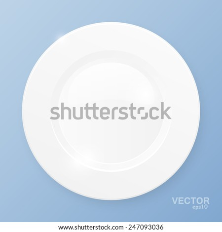 White plate on blue background. Vector illustration. - stock vector