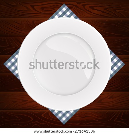 White plate on dark wooden table. Vector illustration can be used for restaurant and cafe menu or food posters design, prints or other crafts.