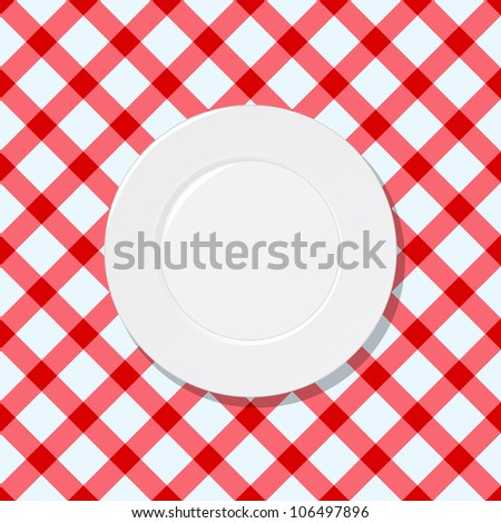 White plate on red and white checked tablecloth background - stock vector