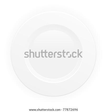 White plate. Vector. - stock vector
