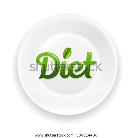 White Plate With Diet Text With Gradient Mesh, Vector Illustration - stock vector