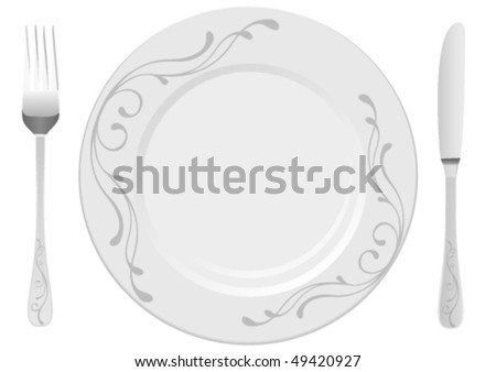 White plate with drawing, isolated on white background - stock vector